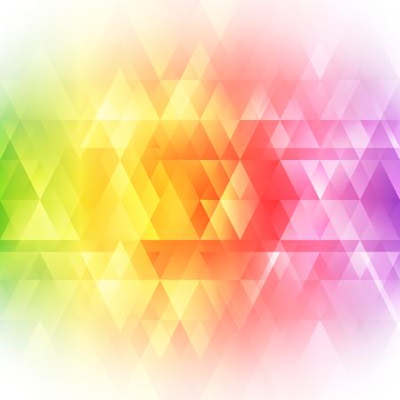 抽象的な明るい背景。モダンなデザインの例。虹色のスペクトル。三角形のボーダー柄。招待状やグリーティング カードのデザイン。メッセージ用