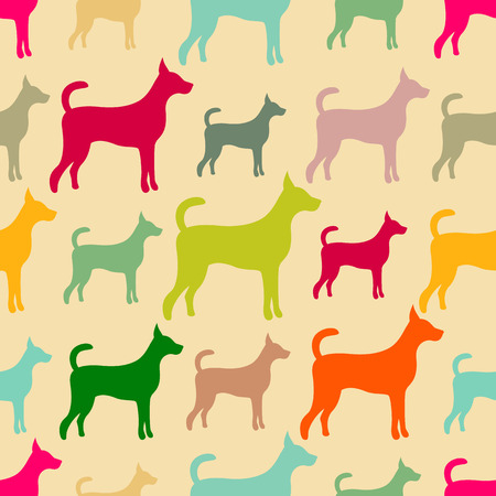 animal silhouette: Animal seamless pattern of dog silhouettes. Stock Photo
