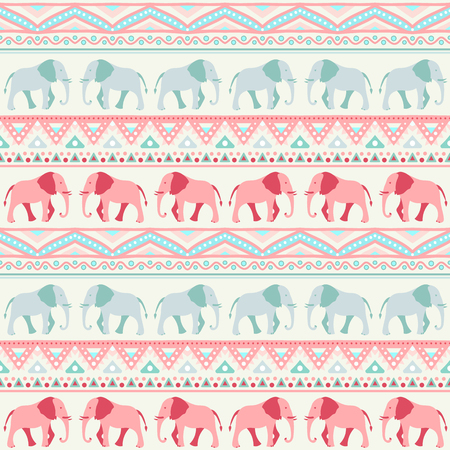 elephant: Animal seamless retro pattern of elephant silhouettes. Stock Photo