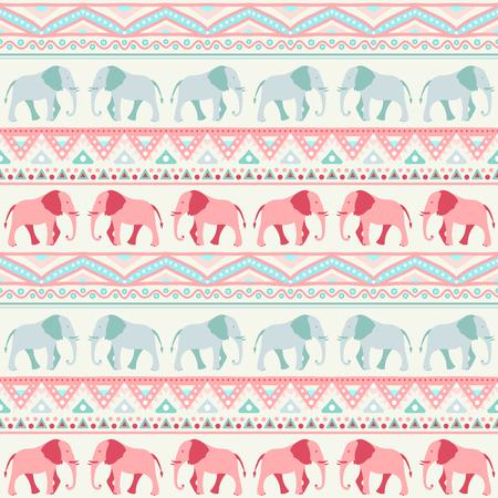 siluetas de elefantes: Animales retro patrón transparente de siluetas de elefantes.