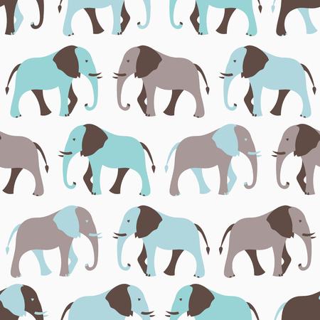 wall paper: Animal seamless retro pattern of elephant silhouettes. Stock Photo