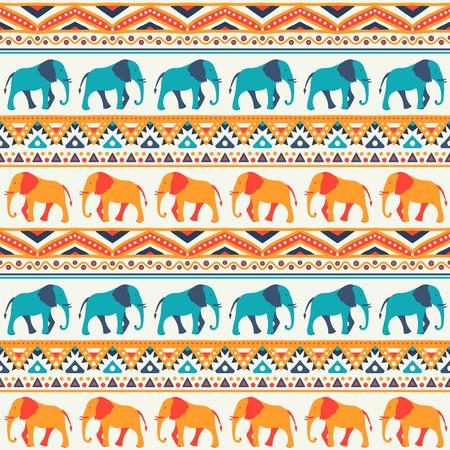 seamless pattern: Animal seamless retro pattern of elephant silhouettes. Stock Photo