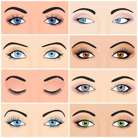 여성의 눈과 아름다운 패션 눈썹 이미지의 설정을 구성합니다.