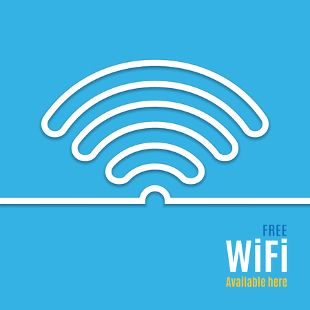 podcast: WiFi icon on blue background. illustration for podcast design. Stock Photo
