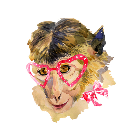 heart shaped: Watercolor monkey in red  heart shaped glasses. Fashionable animal with a bow. Hand drawn chinese zodiac symbol. Unusual illustration for fashion posters, print, textile, banners, T-shirt, card design Stock Photo