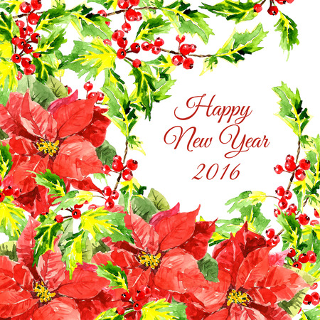 embellishment: Christmas background with cool red flowers and holly leaves isolated on white background. Floral decoration elements. Horizontal banner with corner embellishment and copy space. New Year card design