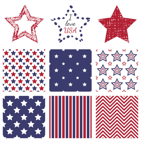 usa: Patriotic red, white and blue geometric seamless patterns and hand-drawn textures star shapes. set with American symbols. USA flag.