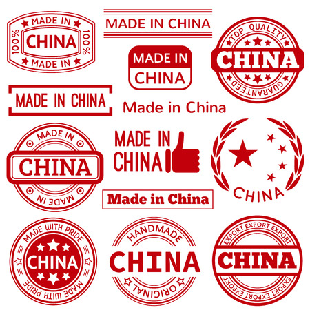 isolated on red: Set of various Made in China red graphics and labels. Round and triangle rubber stamps isolated on white background.