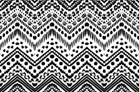 tribal pattern: Hand drawn painted seamless pattern. illustration for tribal design. Ethnic motif. Zigzag and stripe line. Black and white colors. For invitation, web, textile, wallpaper, wrapping paper.