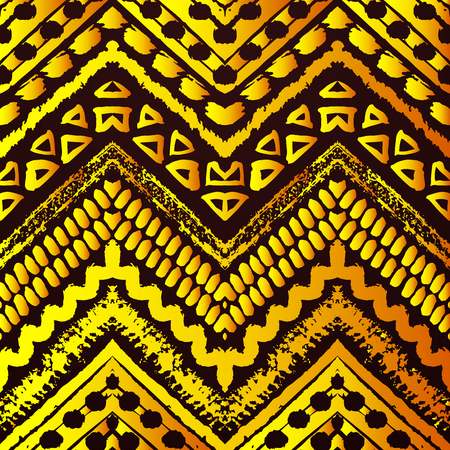 black yellow: Golden hand drawn painted seamless pattern. illustration for tribal design. Ethnic motif. Zigzag and stripe line. Black and yellow colors. For invitation, web, textile, wallpaper, wrapping. Stock Photo