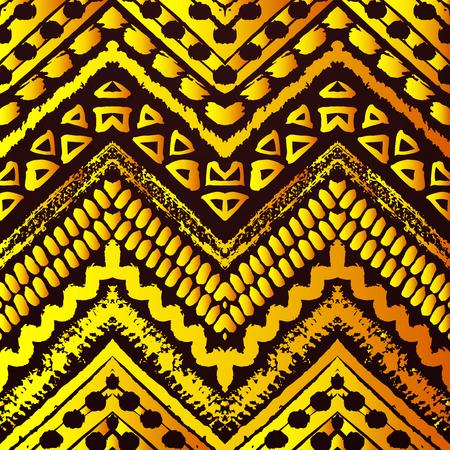 amarillo y negro: Mano de oro dibujado patrón transparente pintado. ilustración para el diseño de la tribu. motivo étnico. línea en zigzag y una raya. colores negros y amarillos. Para la invitación, tela, textil, papel pintado, envoltura. Foto de archivo