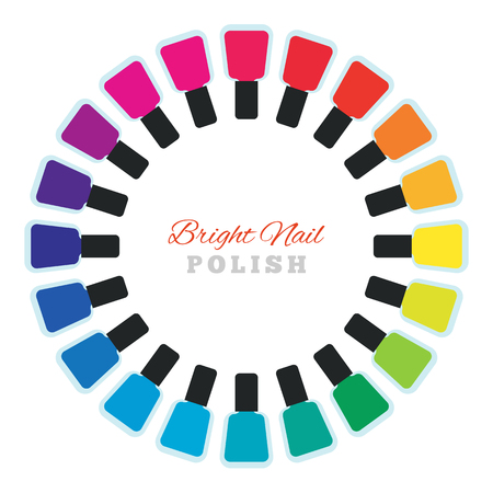 pedicure set: Group of bright nail polish. Women make up accessory. Many nail polish bottles set in a circle. Various rainbow modern colors. Fingernail and pedicure palette. Vector design illustration.