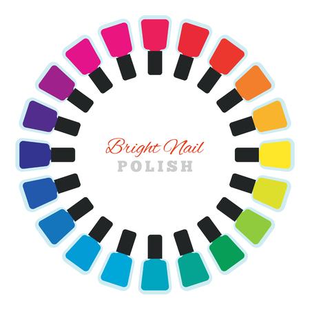 fingernail: Group of bright nail polish. Women make up accessory. Many nail polish bottles set in a circle. Various rainbow modern colors. Fingernail and pedicure palette. Vector design illustration.