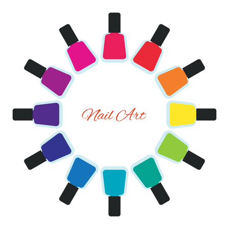 nail polish bottle: Nail polish women accessories set in a palette. Bright stylish modern colors. Glamour cosmetics. Manicure and pedicure products. Cool bottles in rainbow colors. Vector design illustration.