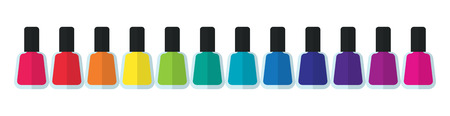 pedicure: Set bottles of nail polish in various colors.