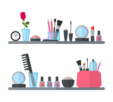 dressing room: Make up cosmetic accessories Illustration