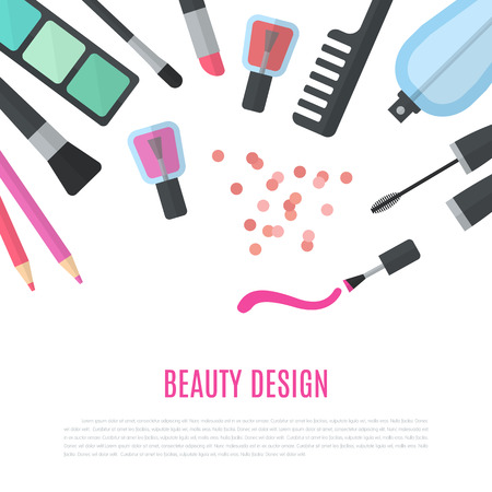 make up products: Beauty design. Cosmetic accessories for make-up. Illustration