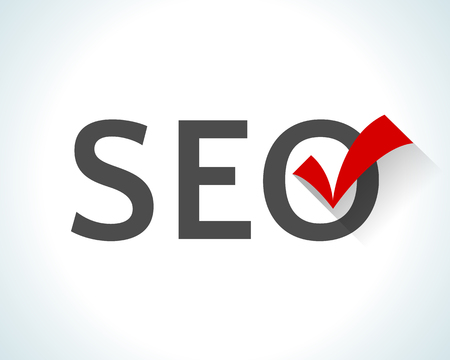 symbol: Flat design word SEO isolated on white background with a red check mark.