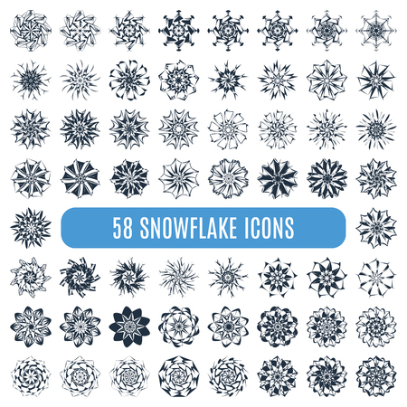 snowflake set: Great collection of elegant stylish snowflakes isolated on white background.