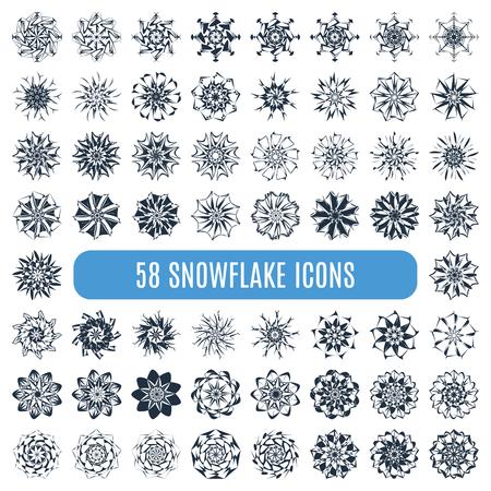 schneeflocke: Gro�e Sammlung von elegante stilvolle Schneeflocken isoliert auf wei�em Hintergrund. Illustration