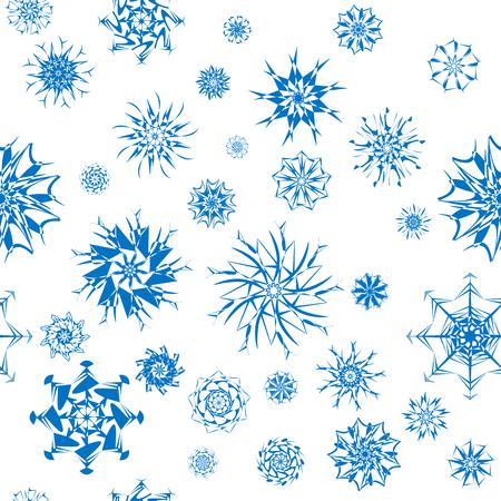 elegant white: Elegant blue snowflakes of various styles isolated on white background.