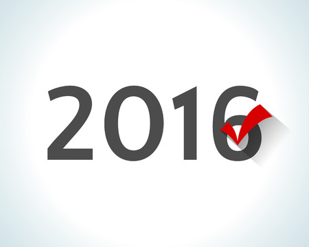designation: 2016 written on white background with a red check mark. Illustration