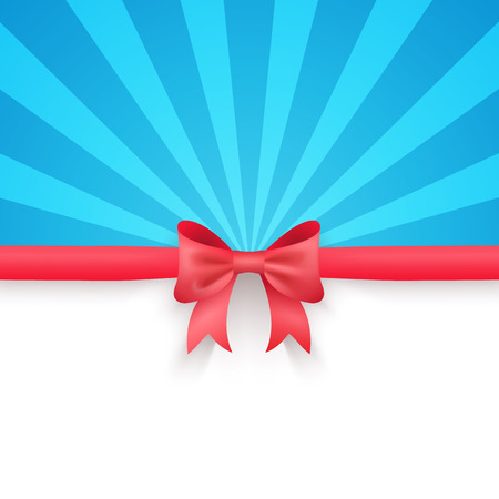 red bow: Winter blue beam background with cute red gift bow and ribbon. Stock Photo
