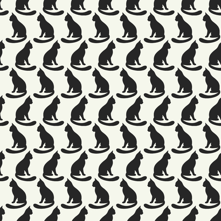 black: Animal seamless pattern of cat silhouettes. Stock Photo