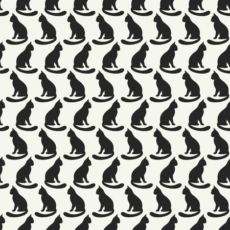 negro: Modelo inconsútil animal de siluetas del gato.
