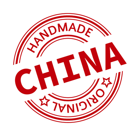 made in china: Made in China red graphic. Round rubber stamp isolated on white background. With vintage texture. Stock Photo