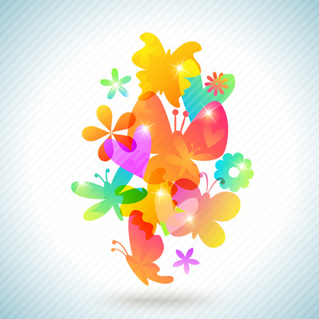 amasing: Colorful spring background design. illustration for amasing surprise concept design. Abstract floral artistic element. Inspiration style. Pink, yellow, orange, blue, green and purple color.