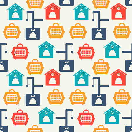 simple house: Animal seamless pattern of silhouettes with home, carrying. Stock Photo
