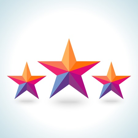 goodly: Bright colorful stars shape in modern polygonal crystal style on white background.