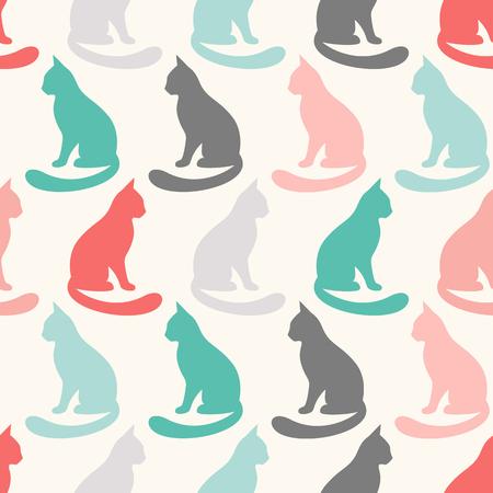 animal pattern: Animal seamless pattern of cat silhouettes. Stock Photo