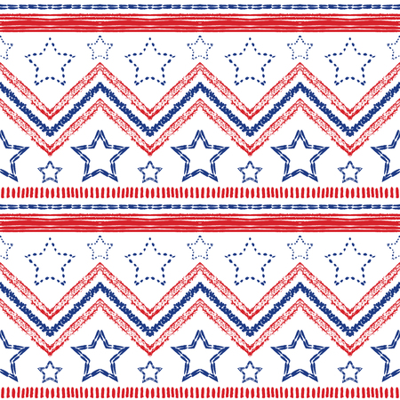 patriotic border: Tribal ethnic patriotic red, blue seamless pattern on white background.