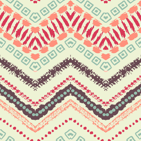 tribal: Hand drawn painted seamless pattern. illustration for tribal design. Ethnic motif. Zigzag and stripe line. For invitation, web, textile, wallpaper, wrapping paper. Stock Photo