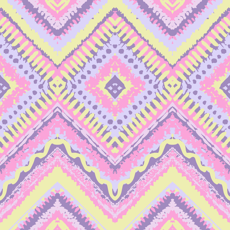 fabric art: Hand drawn painted seamless pattern. illustration for tribal design. Ethnic motif. Zigzag and stripe line. For invitation, web, textile, wallpaper, wrapping paper. Stock Photo