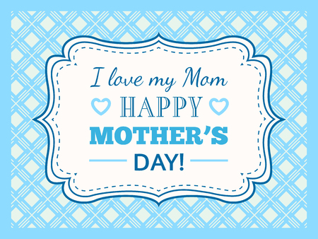 retro type: Happy Mothers day. Typography letter font type. Editable for happy birthday party invitation. Vintage frame on blue background. illustration for your retro holiday design. Stock Photo