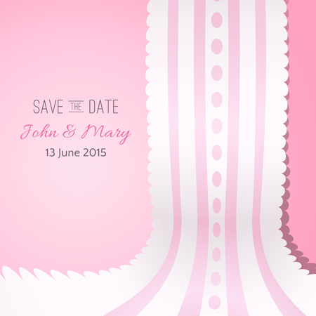 holiday picture: Pink background with vintage realistic pink and white lace. illustration for your lovely design. Abstract holiday picture. Save the date. Invitation for wedding. Stock Photo