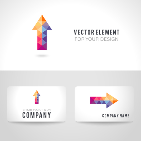 rise: Business card template set. Bright colorful arrow shape in modern polygonal crystal style on white background. illustration. Stock Photo