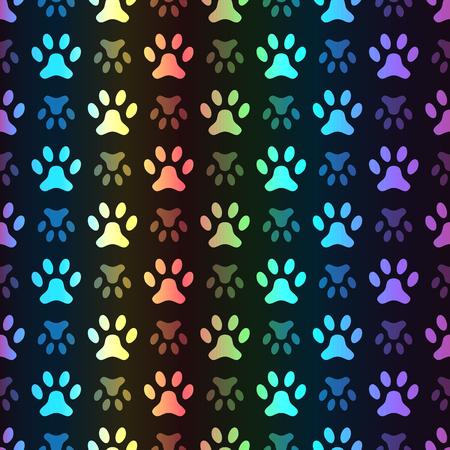 grunge wallpaper: Animal seamless spectrum pattern of paw footprint on black background. Polka dog style. Colorful. Shiny grunge wallpaper.