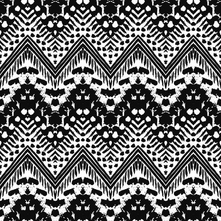 tribales: Dibujado a mano pintada sin patrón. ilustración para el diseño tribal. Motivo étnico. Línea en zigzag y la raya. En blanco y negro colores. Por invitación, tela, textil, papel pintado, papel de envolver.