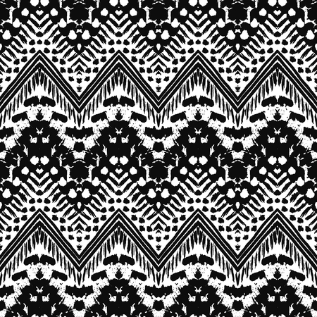 tribal: Hand drawn painted seamless pattern. illustration for tribal design. Ethnic motif. Zigzag and stripe line. Black and white colors. For invitation, web, textile, wallpaper, wrapping paper.