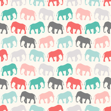 animal pattern: Animal seamless retro pattern of elephant silhouettes. Endless texture can be used for printing onto fabric, web page background and paper or invitation. Colorful.