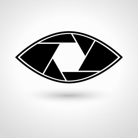 shutter aperture: Shutter eye conceptual flat abstract icon isolated on white background. Aperture. illustration for modern photography design. Monochrome.