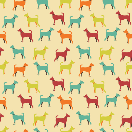 crowd tail: Animal seamless pattern of dog silhouettes. Endless texture can be used for printing onto fabric, web page background and paper or invitation. Doggy style. Retro colors. Stock Photo