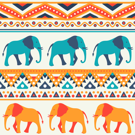 red animal: Animal seamless retro pattern of elephant silhouettes. Endless texture can be used for printing onto fabric. With doodle stripes. White, blue, red and yellow colors.