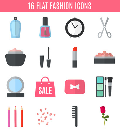 beauty icon: Make up flat icons. Vector illustration for cosmetic design. Beauty style isolated on white background. Make-up artist objects. Makeup accessories for pretty woman. Bright colors.
