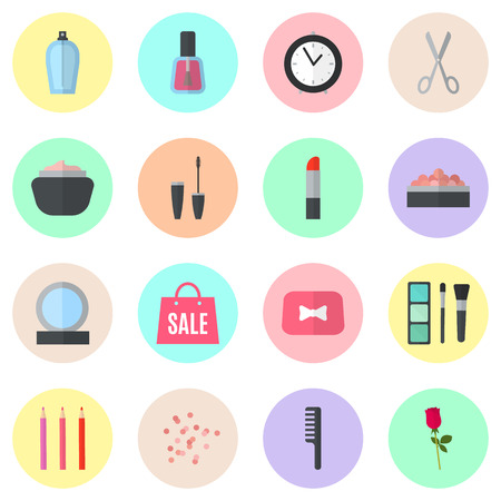 beauty make up: Make up flat icons. Vector illustration for cosmetic design. Beauty style isolated on colorful background. Make-up artist objects. Makeup accessories for pretty woman. Bright colors.