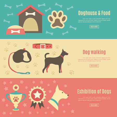 silhouette maison: Retro animal plat jeu de bannière horizontale. Vector illustration pour la conception des animaux. silhouette Chien. Avec chien, maison, nourriture, prix et de la marche, laisse, collier, exposition.
